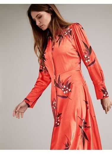 Marks & Spencer Gömlek Yaka Uzun Kollu Midi Boy Çiçek Desenli Saten Kadın Elbise Oranj